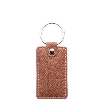 Picture of KEY-RING - PU LEATHER (Rectangular) BROWN
