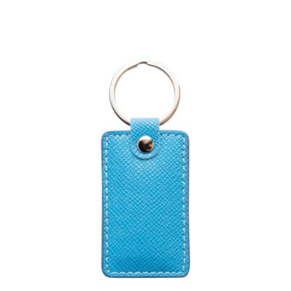 Picture of KEY-RING - PU LEATHER (Rectangular) BLUE LIGH
