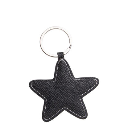 Picture of KEY-RING - PU LEATHER (Star) BLACK