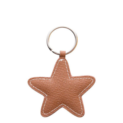 Picture of KEY-RING - PU LEATHER (Star) BROWN