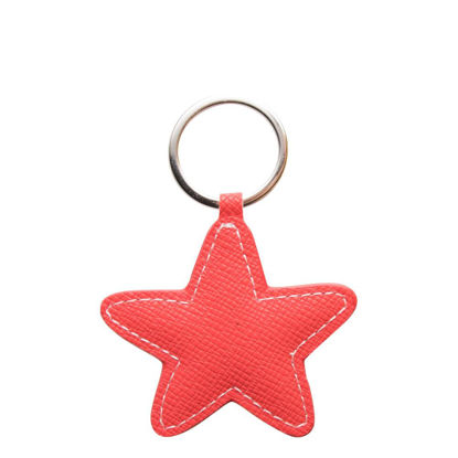 Picture of KEY-RING - PU LEATHER (Star) RED