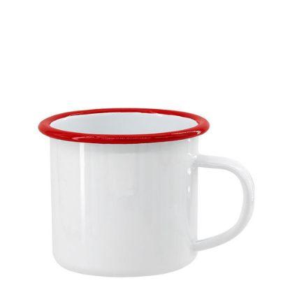 Picture of ENAMEL MUG 12oz WHITE + RED rim