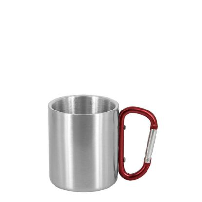 Picture of STAINLESS ST. MUG  8oz - SILVER with Red Hand