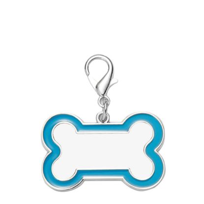Picture of Pet Tag (DOG BONE Blue edge) 3x4.5cm - Zinc alloy