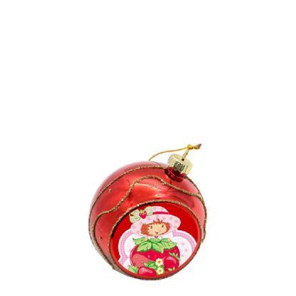 Εικόνα της XMAS - BALL 8cm/RED with Golden Sparkle