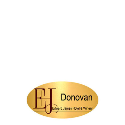 Picture of NAME BADGE (Alum.) GOLD GLOSS- 3.81x7.62 Oval