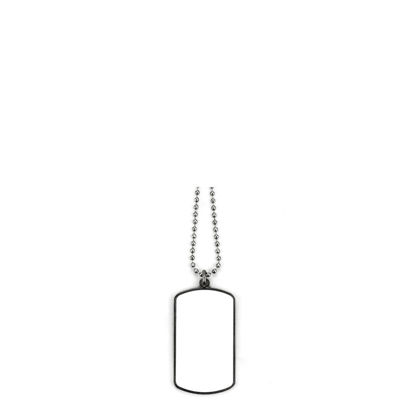 Picture of Pet Tag (RECTANGULAR White gloss) - Zinc Alloy with Chain 75cm