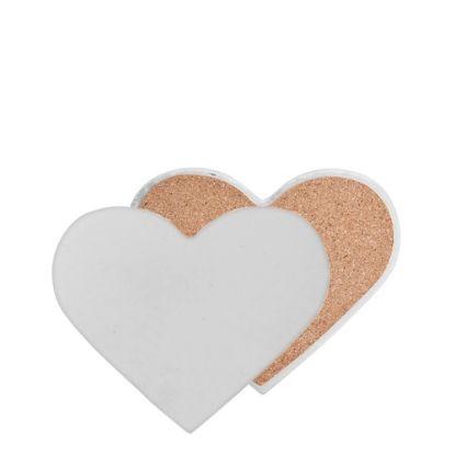 Picture of COASTER (SANDSTONE+cork) HEART 9x11 gloss