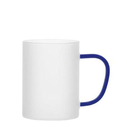 Εικόνα της Glass Mug 12oz (Frosted) BLUE Dark handle