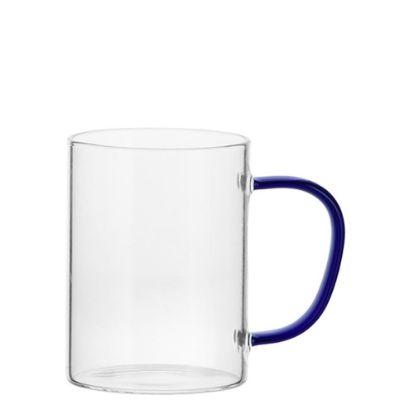 Εικόνα της Glass Mug 12oz (Clear) BLUE Dark handle