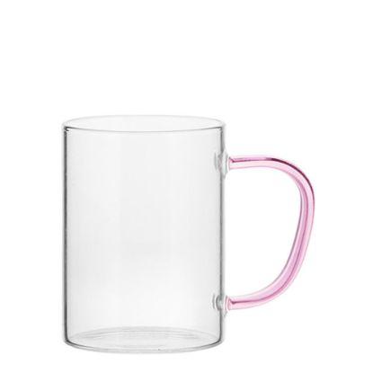 Εικόνα της Glass Mug 12oz (Clear) PINK handle