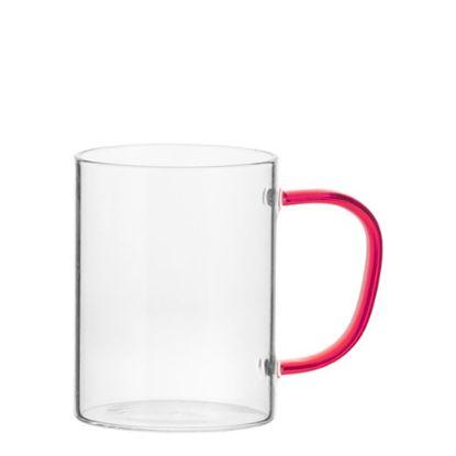 Εικόνα της Glass Mug 12oz (Clear) RED handle