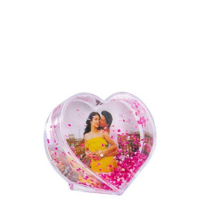 Εικόνα της Acrylic Photo Block (Heart-7x6.3cm) CLEAR with Red Snow