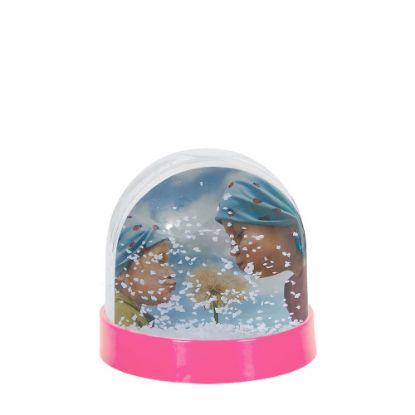 Εικόνα της Acrylic Photo Block (Globe-7x6.3cm) PINK with White Snow