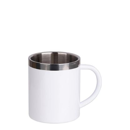 Picture of Stainless Steel Mug 10oz - WHITE with Handle & Silver Lip