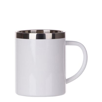 Picture of Stainless Steel Mug 15oz - WHITE with Handle & Silver Lip